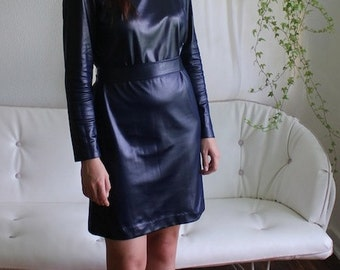 Dark Blue Shiny Pleather Dress - Vintage