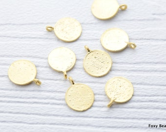 Ottoman Coin Replica Charms, 16x 12mm Matte Gold Plated Coin Charms 5 Pieces - CCG012