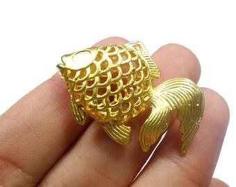 Matte 24K Gold Plated Brass Hollow Beta Fish Charm, Pendant - FSG005-A