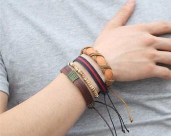 Mixed Bracelet Set, Mens Leather Bracelets, Womens Gift, Unisex 4 Piece Bracelet Set, Birthday Gift, Gift For Him, 4P-5