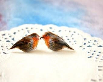 small bird earrings , bird lover gift ,  small earring posts
