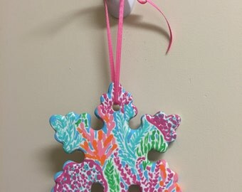 Lilly Pulitzer Custom Snowflake Ornament Hand Painted