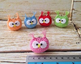 Cute Baby Owl Amigurumi Keychain *PINK*
