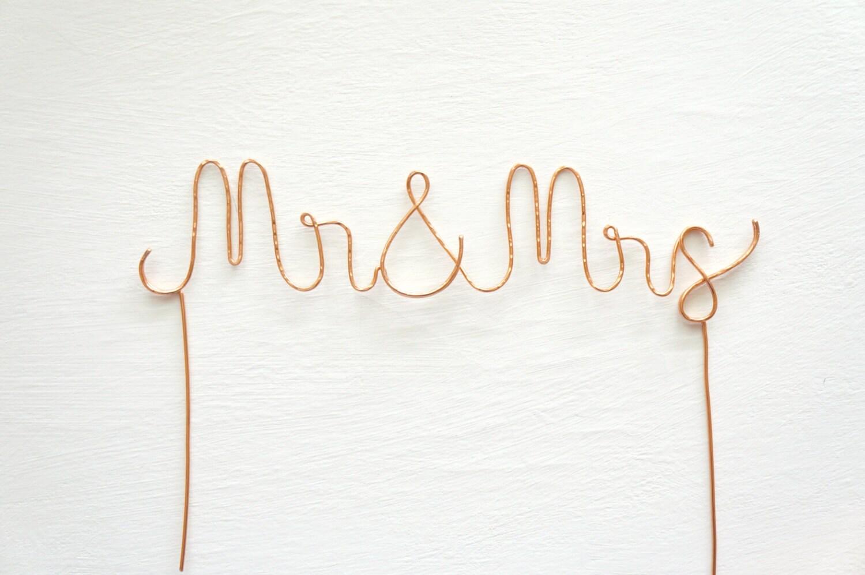 Rose gold mr and mrs wedding cake topper