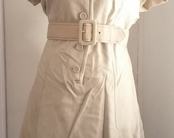 Vintage 60s Dress Wool Adele Martin Tan Button Front Belted w/ Kick Pleats Size 18