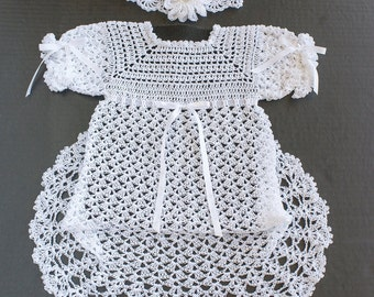 Christening Dress, Long Baptism Dress, Baby Baptism Dress, Girl Christening Set, Christening Dress, Crochet Baby Dress, White baby Dress
