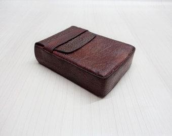 Vintage Leather Cigarette Case, Brown Leather Box Holder, Old Leather Cigarette Case, Embossed leather cigarette case, Gift for Him