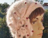 Unique cloche,feminine hat,  retro, pink Freeform Crochet autumn, winter Hat with pearl, christmas gift, women gift, girl gift, mohair