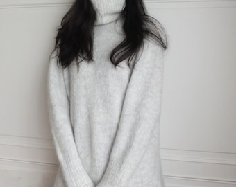 Light grey mohair sweater dress with side slit (custom handmade, lead-time is 1 calendar month,other colours available)