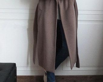 Mocha wool trench coat{5% cashmere}