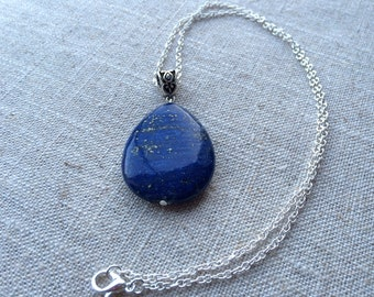 Stunning Lapis Lazuli Teardrop Pendant Necklace on Sterling Silver Chain