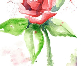 Red Rose Watercolor Painting Print