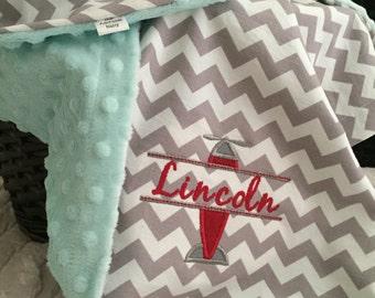 Aviator Baby Blanket | Airplane Baby Blanket | Plane Baby Blanket | Personalized Aviator Blanket | Personalized Airplane Blanket