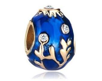 Faberge Bead, Sapphire Charm, Large Hole Bead, European Bead, Charm Bead, Charm Bracelet, European Charm, Big Hole Bead, Blue, Gold