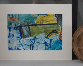 Memories of holidays, sea, Corsica, acrylic and collage