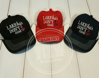 Lake Hair Don't CareTrucker Style Cap--Custom Made to order Embroidered Cap