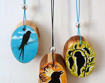 Original painting on wood - set of three - Birds, cute, beautiful gift, nature