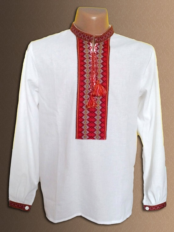 Ukrainian embroidered shirt for adult men cotton or linen