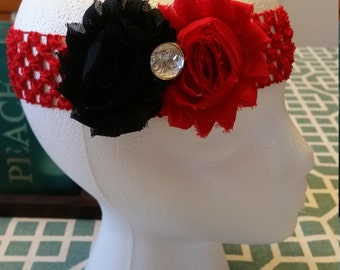 Double Shabby Flower Crochet Headband