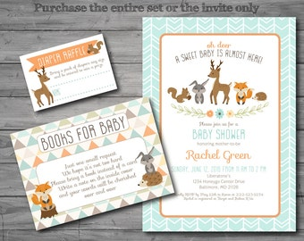 PRINTED, Woodland Baby Shower Invitation, woodland baby shower invite, woodland theme, gender neutral, books for baby, diaper raffle