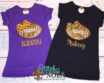 Buy 2 and SAVE!!! Black and Gold & Purple and Gold Glitter Football Dress Set