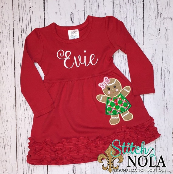 Gingerbread Girl Long Sleeved Red Ruffle Dress