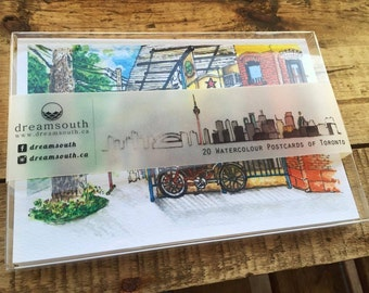 Toronto-themed Watercolor Postcard Box Set (20 Postcards in the set)