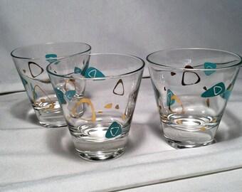 Set of 3 Federal Glass Atomic Era Boomerang Amoeba 4 oz Shot Whiskey Glasses - Mid Century Modern Retro Style in Turquoise teal and Gold