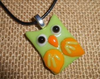 Fused Glass Pendant - Owl in Green and Yellow