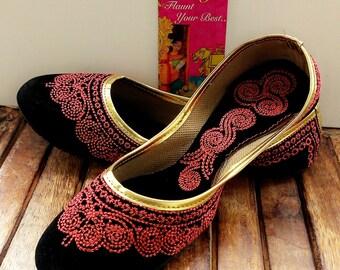 50% off US Size 6/Black shoes/Velvet Shoes/Pink Embroidered Designer Shoes/Black Ballet Flats/Women Shoes/ Handmade Shoes//Royal