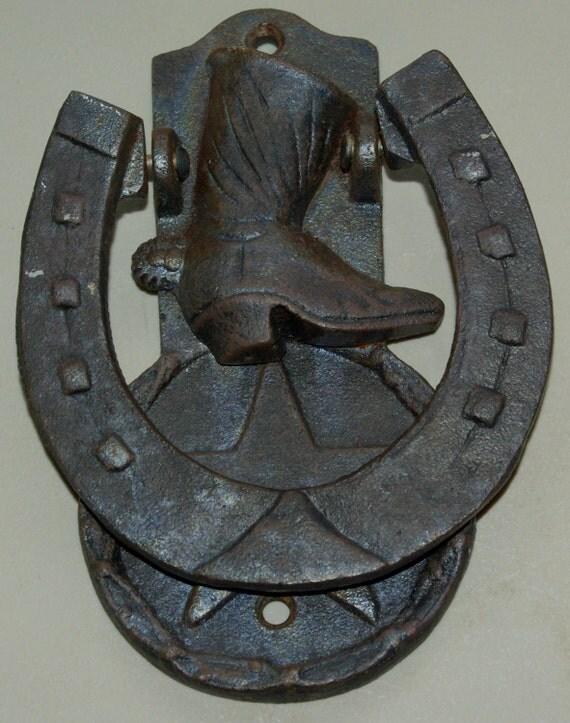 Western Cowboy Door Knocker Horseshoe Boot Star