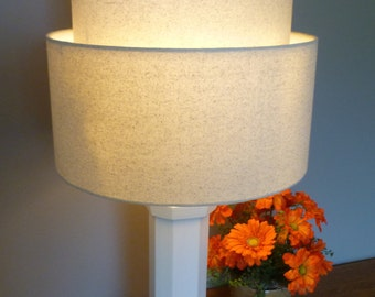 2 Tiered hardback lamp shade in off-white muslin fabric, best for large table lamps. Free Shipping to lower 48 states.