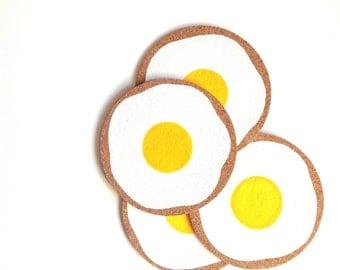 Sunny Side Up Egg Cork Coasters | Round Coasters | Barware | Drinkware | Set of 4
