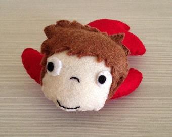 Handmade felt doll Ponyo (unofficial) stuffed soft toy plushie christmas gift birthday idea to collect plush