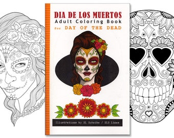 Adult coloring book Day of the Dead, Dia de los Muertos coloring pages, illustration for colouring by SLS Lines, 12 page handmade book