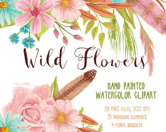Wild Flower watercolor clipart, pink and blue meadow flowers graphics, wild bouquet and grasses watercolour clipart by SLS Lines