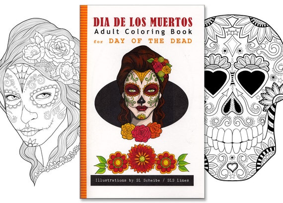 adult coloring book day of the dead dia de los muertos coloring pages illustration