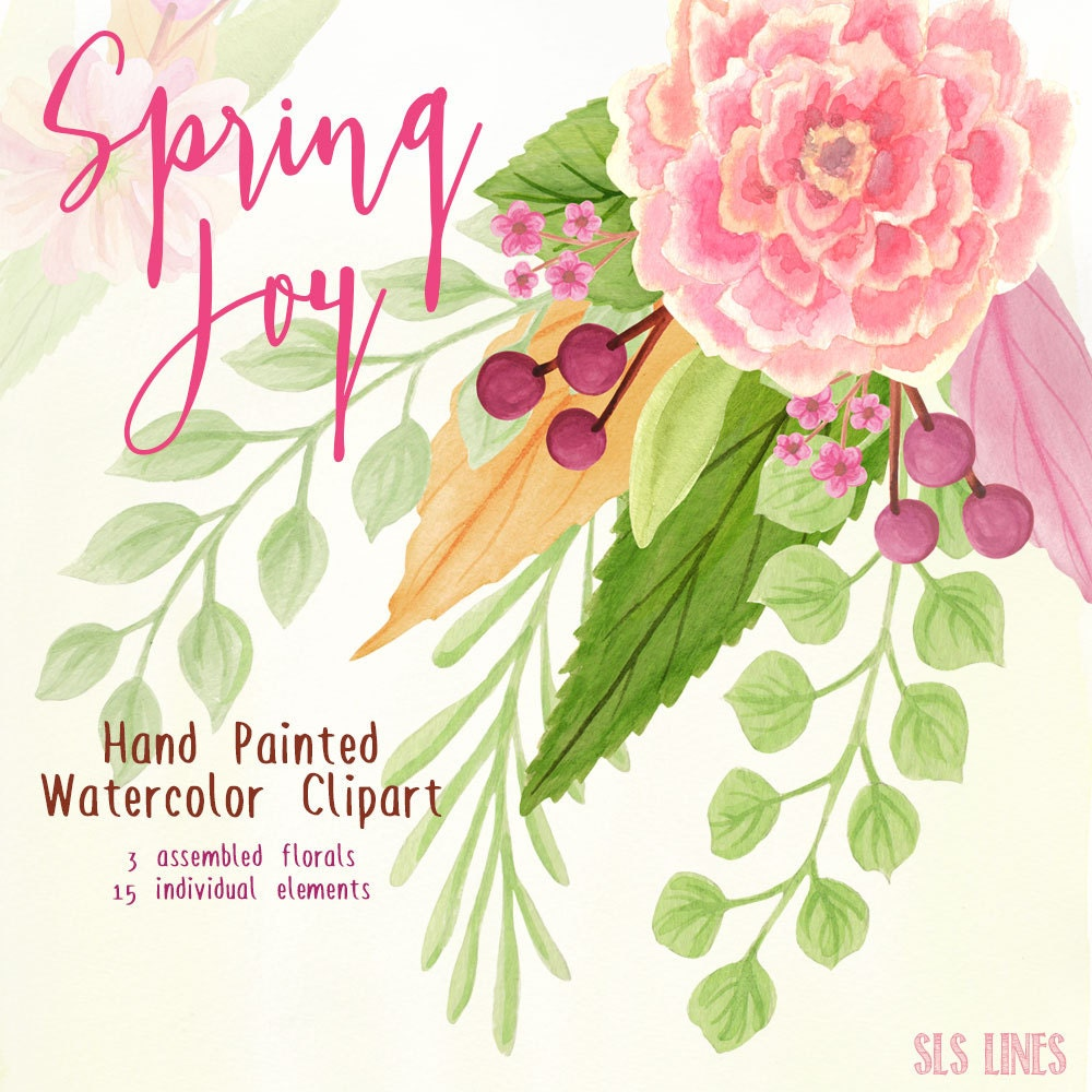 watercolor flowers clipart spring flowers pink and green