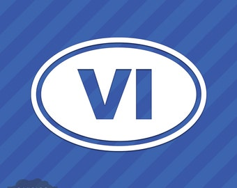 Virgin Islands VI Oval Vinyl Decal Sticker