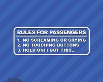 Rules For Passengers Vinyl Decal Sticker JDM