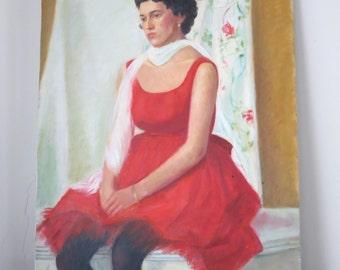 Mid Century Oil Painting Portrait Woman American