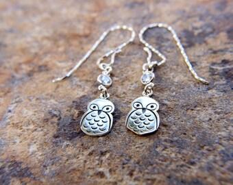 Owl dangle earrings, Sterling silver owl earrings