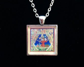 Aquarius Zodiac Postage Stamp Necklace