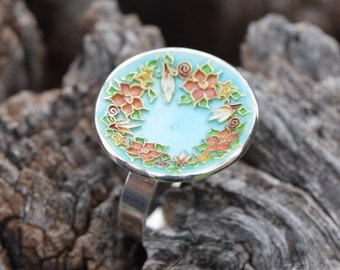 Flower Wreath Ring, Cloisonne Ring, Sterling Silver Ring, Enamel Ring, Floral Wreath, Botanical Jewelry, Flower Ring, OOAK, Giampouras