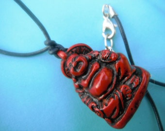Asian Red Stone Budda Pendant/Necklace