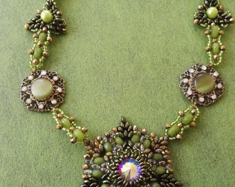 Green and gold druzy beadweaving Necklace swarovski beads crystal center