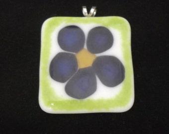 Purple Flowers Fused Glass Pendant