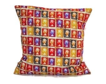 18 x 18 pillow cover, Stamp cushion cover, British Queen, GB decor, British pillow, British stamps, decorative pillow, decorative cushion