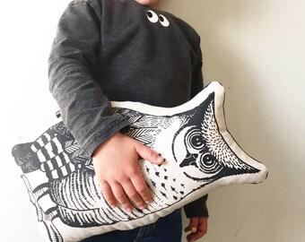 Owl shaped pillow, woodlands nursery  decor, kids room cushion, monochrome