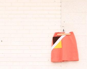 Mod Colorblock Orange Tennis Pencil Skirt